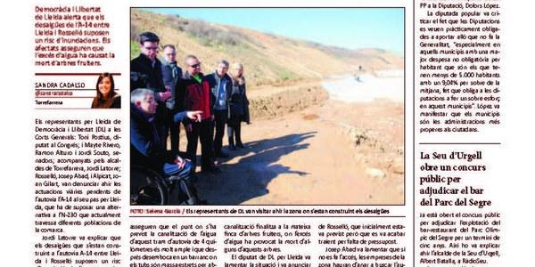 Alerten que els desaigües de l'A-14 entre Lleida i Rosselló suposen un risc d'inundació.