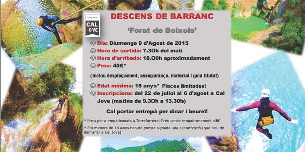 Cal Jove organitza un descens de barranc al Forat de Boixols