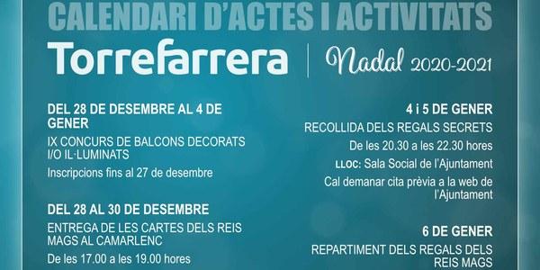 Calendari d'actes i activitats de Nadal 2020-2021
