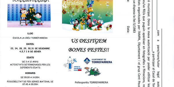 Casal Nadal Torrefarrera 2015 per a nens i nenes de 3 a 12 anys