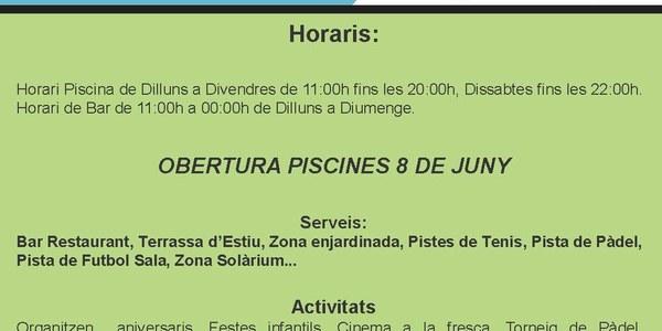 Obertura Piscines Municipals 8 de juny. Complex Esportiu del Segrià