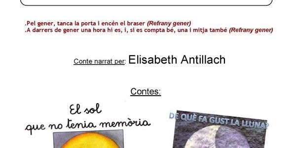 Aquest divendres 27 de gener contacontes amb Elisabeth Antillach