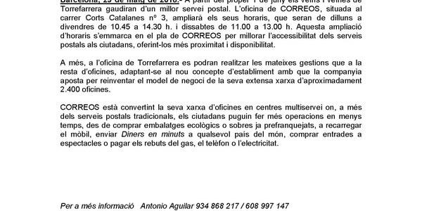 CORREOS amplia serveis i horari a l'oficina de Torrefarrera