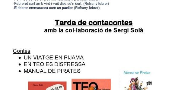 Demà divendres, Contacontes amb la col.laboració de Sergi Solà