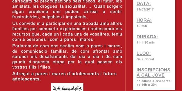 """Dimarts 21 a la Sala Social de l'Ajuntament. Xerrada """" Els nostres fills/es. Què ens preocupa?"""""""