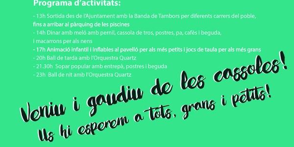Dissabte 21, Dia de les Cassoles a Torrefarrera