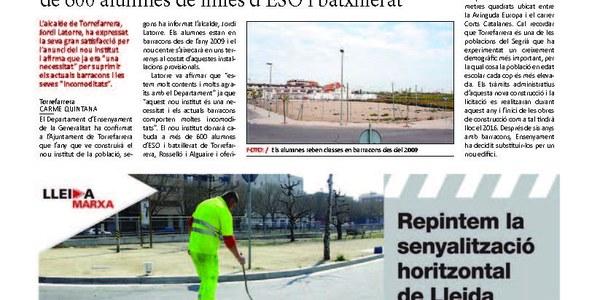 El Govern construirá l'institut de Torrefarrera el 2016 amb 6,7 milions.