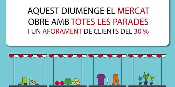 El mercat de Torrefarrera obre amb totes les parades i limitació d'aforament de clients al 30%