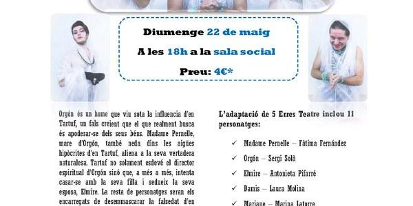 """El Teatre 5 Erres de Torrefarrera presenta l'obra,  """"Tartuf de Molière"""""""