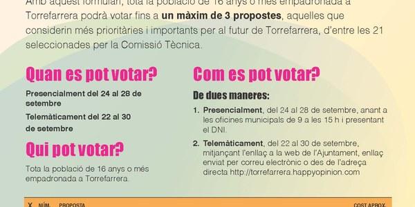 Els pressupostos participatius entren en la fase de votació popular