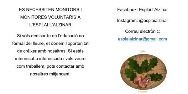 Es necessiten monitors i monitores voluntaris a l'Esplai l'Alzinar