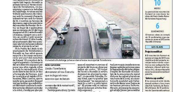 Foment ja asfalta l'autovia entre Rosselló  i Lleida a l'espera d'enllaçar amb la variant
