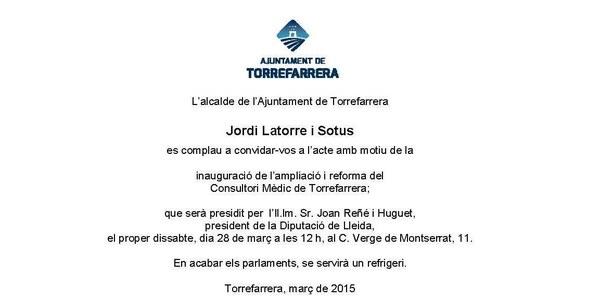 Inauguració de l'ampliació i reforma del Consultori Mèdic de Torrefarrera
