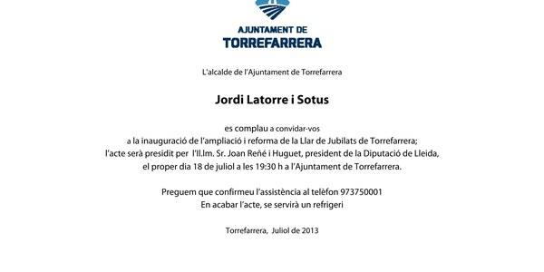 Inauguració de l'ampliació de la Llar de Jubilats de Torrefarrera
