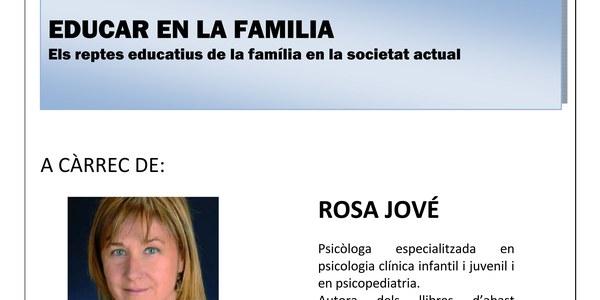 """Jornada de presentació: """"Educar en la familia"""" a càrrec de Rosa Jové"""