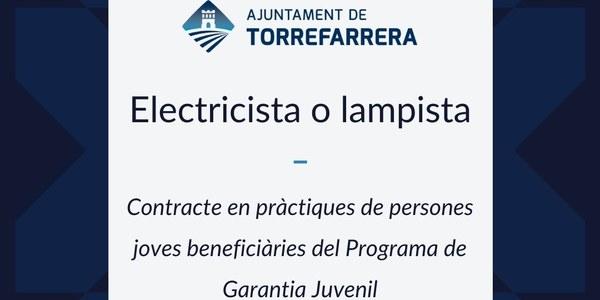 L'Ajuntament de Torrefarrera busca un/a jove per a contracte en pràctiques de persones joves beneficiàries del Programa de Garantia Juvenil