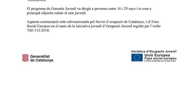 L'Ajuntament de Torrefarrera contracta a 1 jove del programa de garantía juvenil