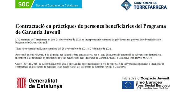 L'Ajuntament de Torrefarrera se suma a la iniciativa del programa Joves en Pràctiques