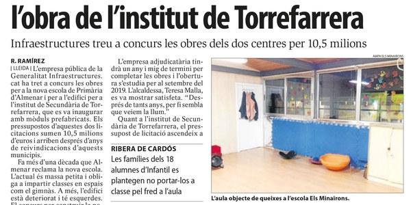 Licitades les obres per a l'edifici del nou institut de secundària de Torrefarrera