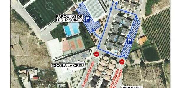 Modificació de l'aparcament i afectació al trànsit a la zona de l'escola la creu, per motiu d'inici de les obres del dipòsit de retenció d'aigua de clavegueram