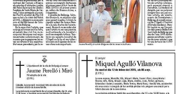 Mor l'artista Jaume Perelló als 87 anys