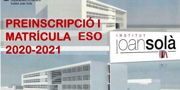 Preinscripció per a l'ESO 2020-2021 a l'Institut Joan Solà fins al 22 de maig