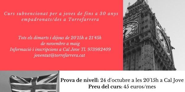 Curs d'anglès B2 subvencionat per a joves de fins a 30 anys empadronats a Torrefarrera