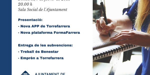Presentacións i entrega de subvencions a la Sala Social de l'Ajuntament