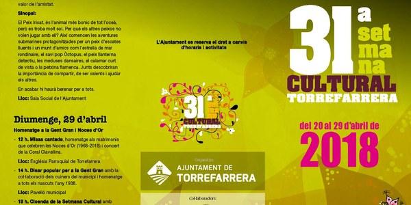 Programa de la 31a. Setmana Cultural Torrefarrera 2018