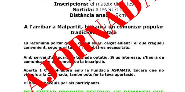 Queda AJORNADA la, VII Caminada popular Torrefarrera-Malpartit