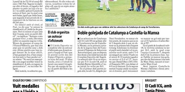 Resum de notícies de la selecció Catalana a Torrefarrera