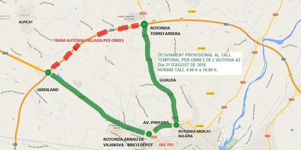 Tall temporal per obres d'un tram de l'autovia A-2 entre Alpicat i Torrefarrera