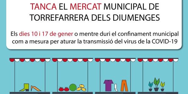 Tanca temporalment el Mercat Municipal de Torrefarrera del diumenge per les noves mesures de confinament municipal acordades per la Generalitat