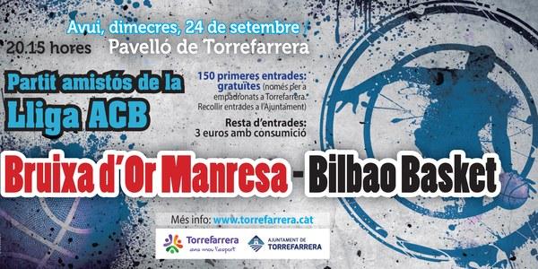 Torrefarrera acull l'amistós de la Lliga ACB entre el Bruixa d'Or Manresa i el Bilbao Basket