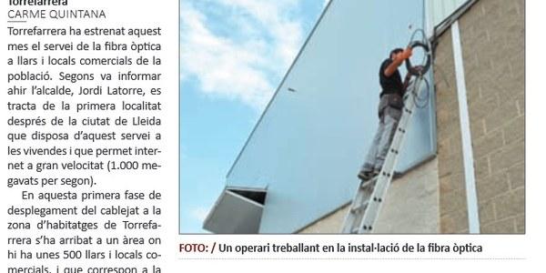 Torrefarrera estrena el servei de fibra òptica al casc urbà