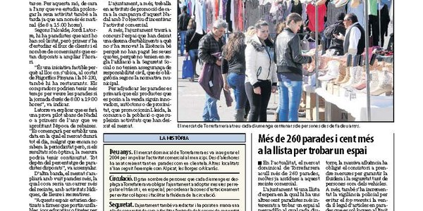 Torrefarrera estudia que el mercat s'obri també a la tarda i amb vuit parades lúdiques