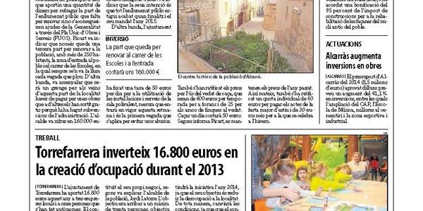 Torrefarrera inverteix 16.800 euros en la creació d'ocupació durant el 2013