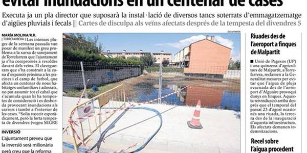 Torrefarrera renova el clavegueram per evitar inundacions en un centenar de cases.