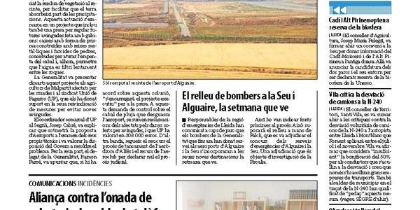 Treballs a l'aeroport per evitar més riuades en finques de Torrefarrera