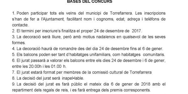 VII Concurs de Balcos decorats i o il.luminats. Nadal 2017