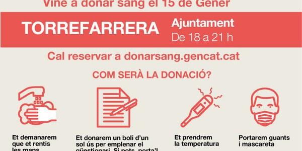 Vine a donar sang el 15 de gener a Torrefarrera