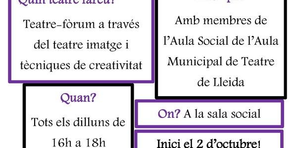 Obertes les inscripcions per al Grup de Teatre Jove amb l'Aula Municipal de Teatre de Lleida