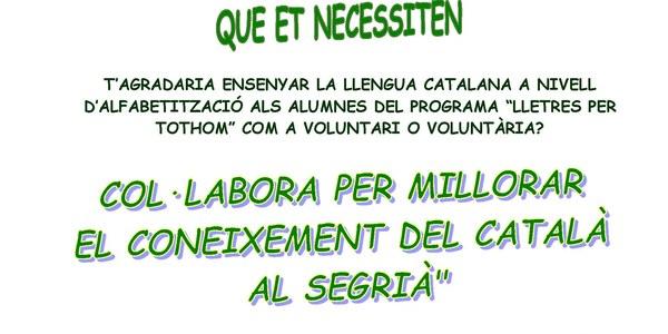Vols ser voluntari/a? Col.labora per millorar el coneixement del català al Segrià